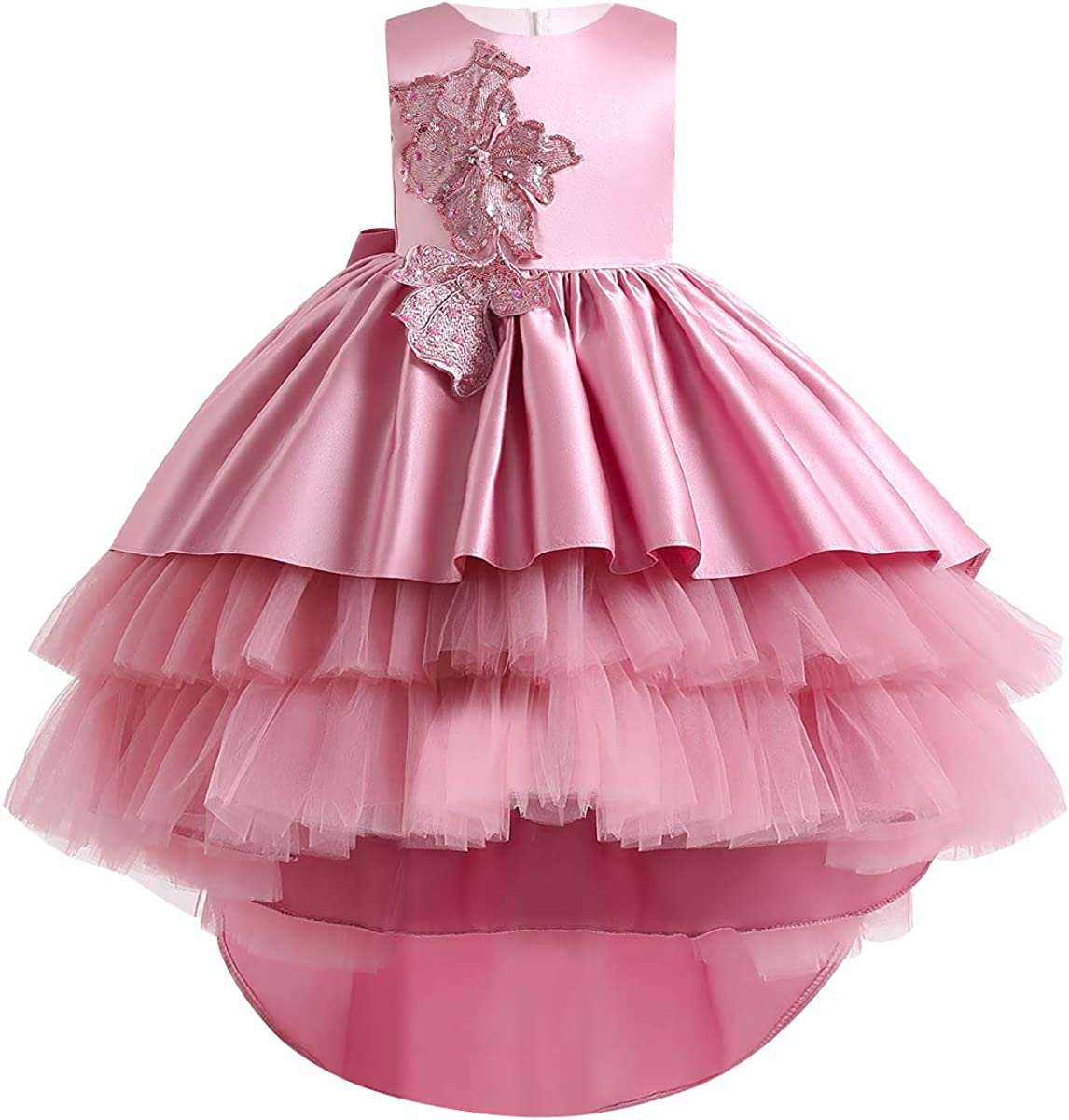 Flower Girls Lace Wedding Tulle Dresses Party High Low Princess Pageant Birthday Dance Evening Maxi Prom Gown for Kids