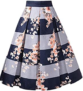 Womens Jacquard High Waist A Line Skirt Floral Pleated Midi Skirts