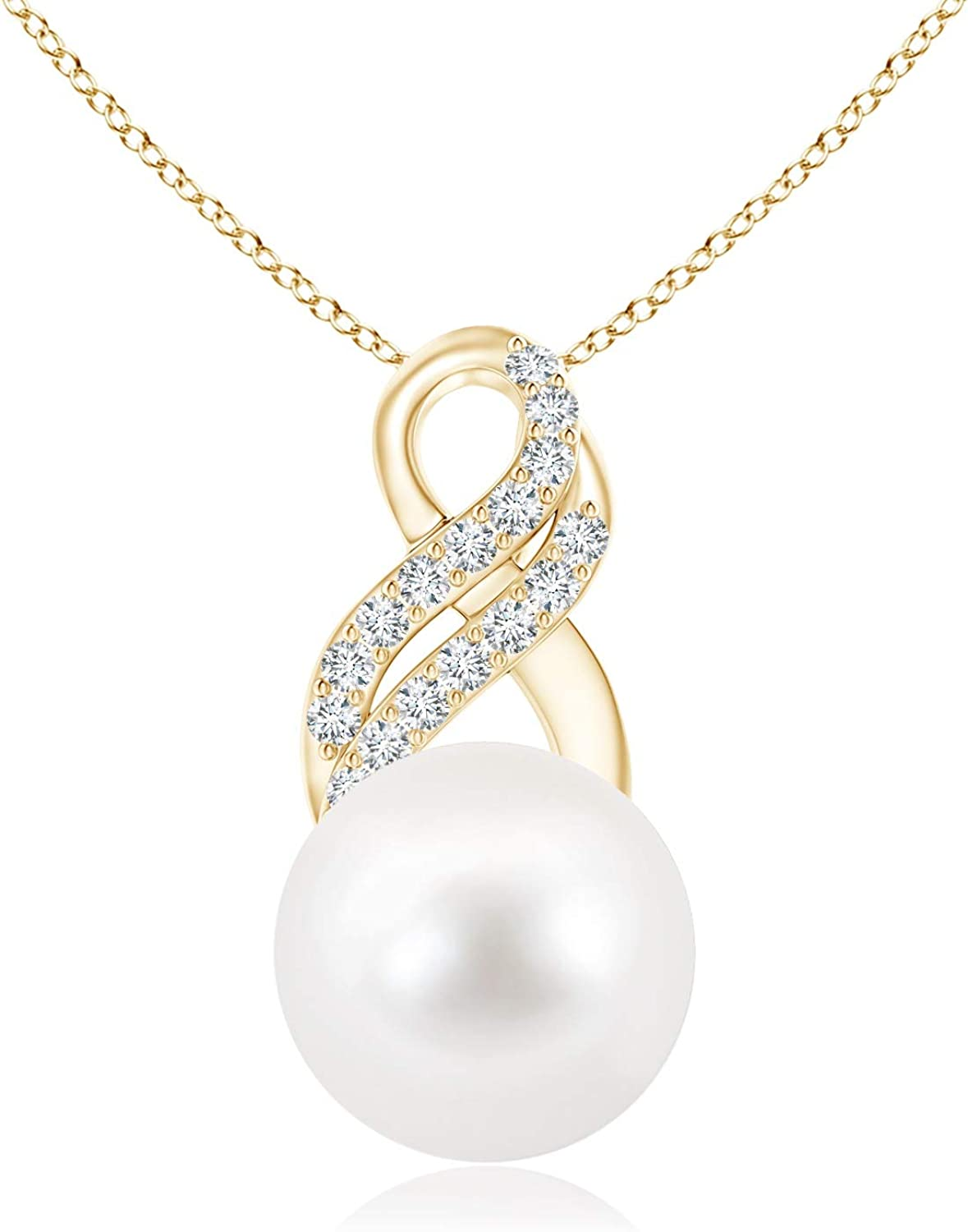 Freshwater Cultured Pearl Drop Pendant Regular store Popular with Infinity Swirl 10mm