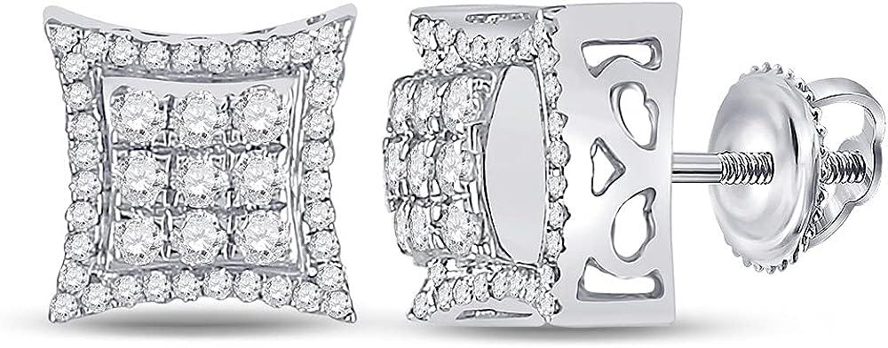 10kt White Gold Mens Round Diamond Square Earrings 5/8 Cttw