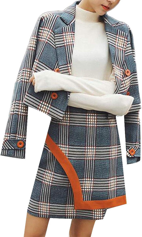 Sweatwater Womens Casual Skirt Checkered Crew Neck Suit Blazer Coat Jackets