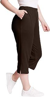Roamans Women's Plus Size Petite Soft Knit Capri Pant
