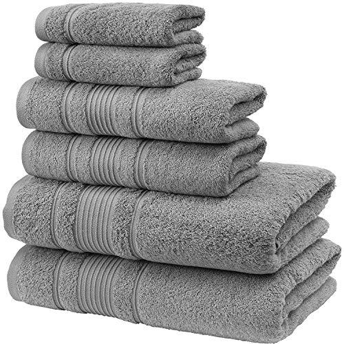 Qute Home Spa & Hotel Towels 6 Piece Towel Set, 2 Bath Towels, 2 Hand Towels, and 2 Washcloths - Grey