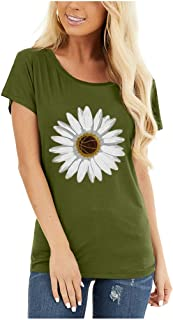 Mlide Little Daisies Print Summer T-Shirt For Womens Cute Fashion Loose Round Neck Tee Tops Shourt Sleeve Blouse