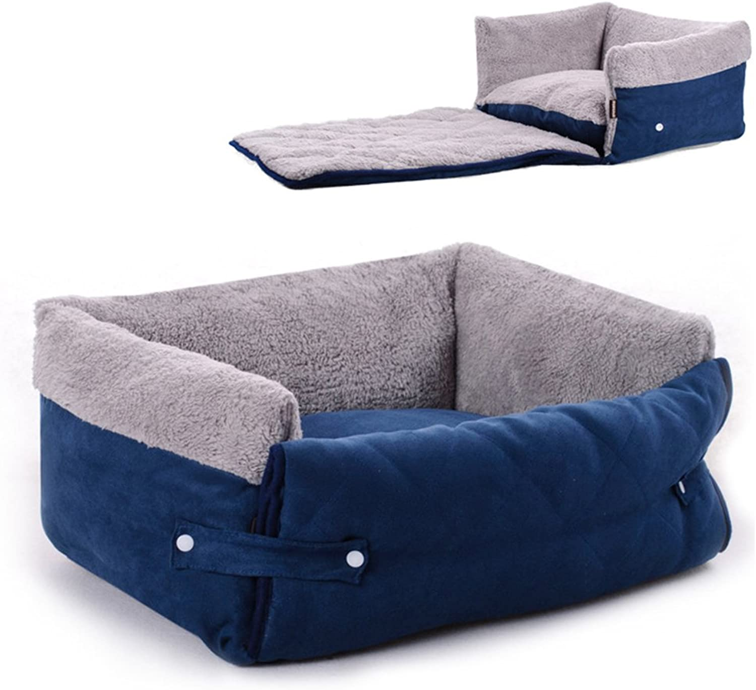 Kxtffeect Pet Bed for Cats and Small Medium Dogs, Wasable Soft Pet Bed Pet Mat with Cover (L, Blue)
