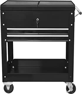 Torin ATC310B Rolling Garage Workshop Tool Organizer: 2 Drawer Tool Chest Tray with Top Work Surface and Storage Push Cart...