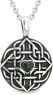 Amulet Celtic Shield Knot Magic Heart and Protection Powers Simulated Onyx Pendant 18 Inch Necklace