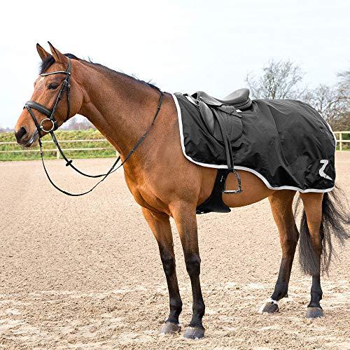 horze WeatherTreck Reitdecke für das Training, 420D mit Nylon und robuster Dupont Teflon Beschichtung, Schwarz, 155