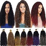 Marlybob Crochet Braids Hair Extension 14 inch Deep Water Wave Braiding Hair Kinky Curly Afro Jerry Curl Marley Bob Twist Braid Hairpiece for Women 5 Bundle 150 Strands 500G Dark Wine Red