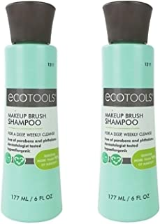 EcoTools Makeup Brush Cleansing Shampoo, 6 Ounce (2 Count) Two Bottle Makeup Brush Cleaner Value Pack