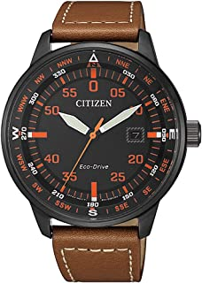 CITIZEN Mens Solar Powered Watch, Analog Display and Leather Strap - BM7395-11E