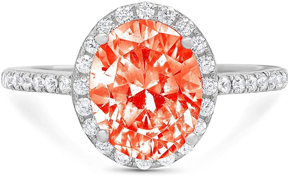 3.42ct Brilliant Oval Cut Solitaire with Accent Halo Red Ideal VVS1 Simulated Diamond CZ Engagement Promise Statement Anniversary Bridal Wedding Ring Real 14k White Gold