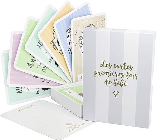 Cartes premières fois de bébé et coffret souvenir (français) – 40 milestone cartes photos unisexe - futures mamans et...