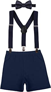 Baby Boys Cake Smash Outfit First Birthday Bloomers Bowtie Adjustable Y Back Suspenders Clothes set