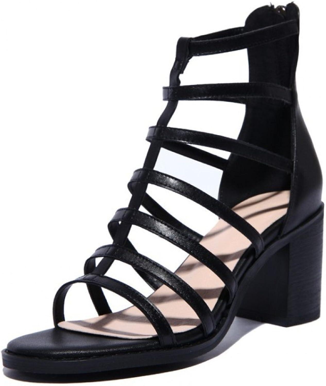 Frauen Schwarz Block Heel Leder Sandalen Peep Toes Toes Hoher Absatz Rom Sandalen Nachtclub Sexy Hochzeit Schuhe  Qualitätsprodukt