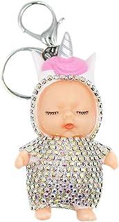 Cute Baby Unicorn Keychain Glitter Rhinestone Car Key Ring Charm Pendant with Clip for Handbag Purse