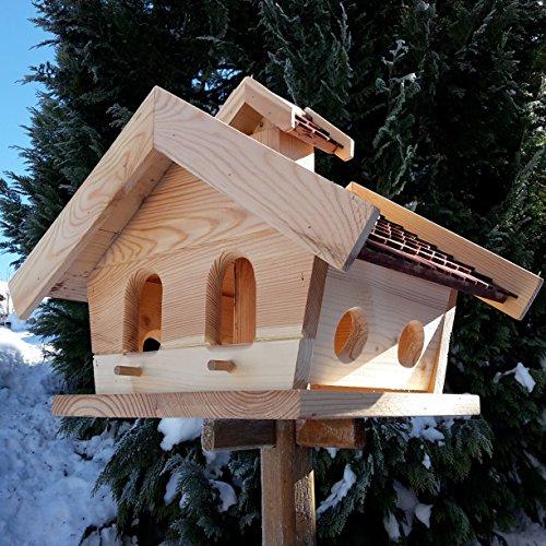 Vogelhaus-XXL mit Holzschindeln und Putzklappe lasiert Vogelhäuser-Vogelfutterhaus großes Vogelhäuschen-aus Holz Wetterschutz (Braun) - 3