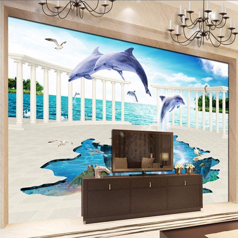 comprar ahora Xzfddn Papel Tapiz Fotográfico Personalizado Personalizado Personalizado Mural De Parojo En 3D Mundo Submarino Salto De Delfín Telón De Fondo Papel De Parojo Sala De Estar-200X140Cm  orden en línea
