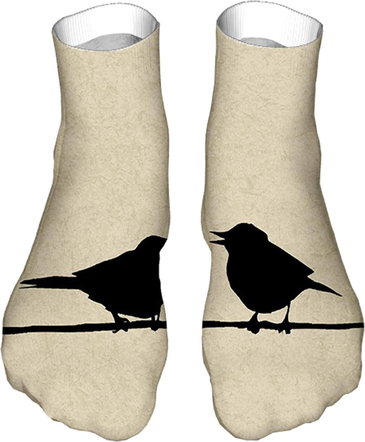 Men's and Women's Funny Casual Socks Grunge Worn Out Background with Bird Silhouettes on a Wire