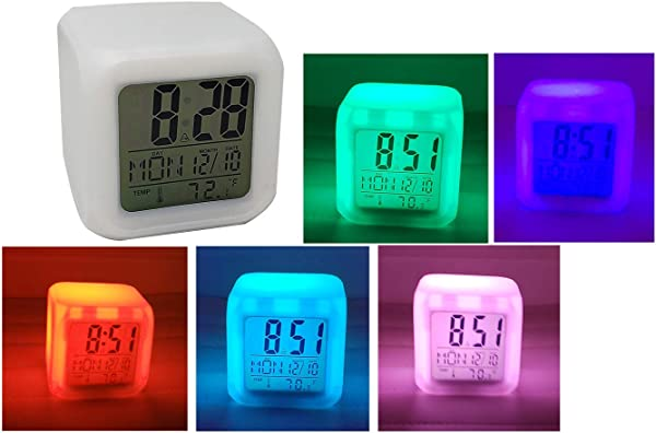LED Color Changing Digital Alarm Clock Thermometer Date Cube Shaped 3