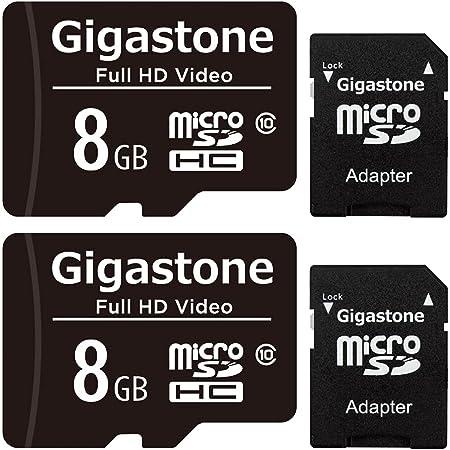 Gigastone 8GB Micro SDカード, Full HD Video対応 監視カメラ アクションカメラ ドローン対応 読み取り速度80MB/s Micro SDHC UHS-I U1 Class 10 (8GB 2個セット)