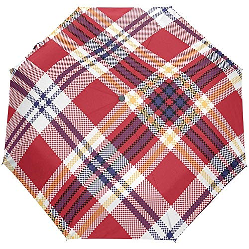 Vintage Plaid Check Tartan gestreift rot Auto Open Umbrella Sonnenregen Regenschirm Anti UV Folding Compact Automatic Umbrella