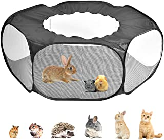 Amakunft Small Animals Cage Tent, Breathable & Transparent Pet Playpen Pop Open Outdoor/Indoor Exercise Fence, Portable Ya...