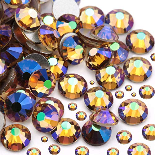 Dowarm 2650 Pieces Glass Flat Back Crystal Rhinestones Round Gems, 6 Sizes 1.5mm - 6.5mm, Flatback Crystals Loose Gemstones for Crafts Nail Face Art Clothes Jewels (Shiny Purple)
