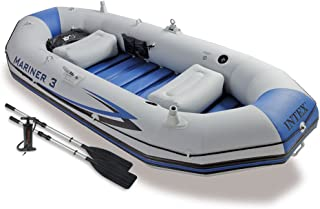 Intex Mariner 3, 3-Person Inflatable Boat Set with Aluminum Oars and High Output Air Pump (Latest Model)