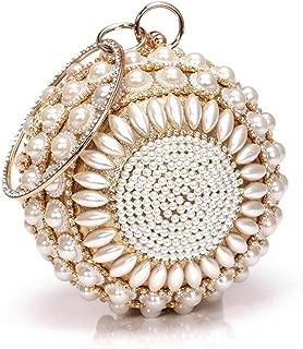 Redland Art Women's Fashion Mini Pearl Beaded Round Clutch Bag Wristlet Evening Handbag Catching Purse for Wedding Party (Color : Golden)