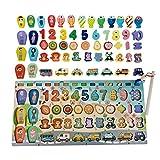 MABY – Puzzle Bloques de Madera, Tablero Montessori 3 años en adelante, Juguete Madera, clasificación matemática, Juguete Educativo, Aprendizaje Preescolar, Peces, Puzzle Infantil