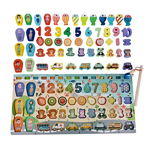 – Tablero Montessori de Matemáticas, Rompecabezas de Madera, Juguete Madera, Pescar para Niños de 3 4 años en adelante, Juguete Educativo, Aprendizaje Preescolar, Peces, Puzzle Infantil