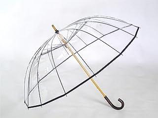 ホワイトローズ かてーる16桜 ビニール傘 収納袋付き 日本製 透明ビニール傘 カテール16桜 (ブラック)