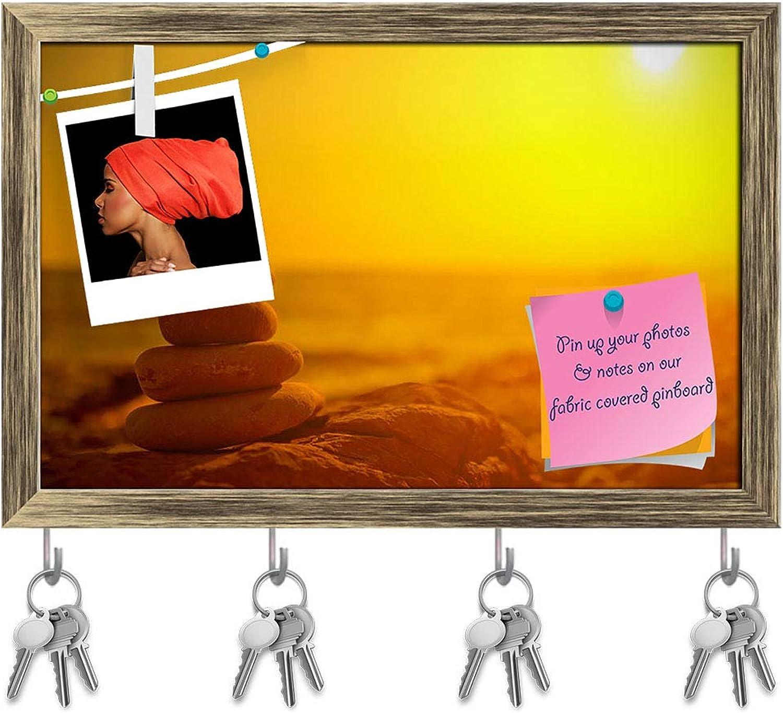 Artzfolio Balance & Harmony Key Holder Hooks   Notice Pin Board   Antique golden Frame 18.3 X 12Inch
