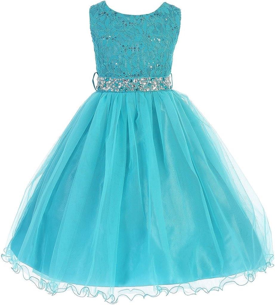 iGirlDress Little Girls' Sequin Lace with Tulle Flower Girl Dress 2-20