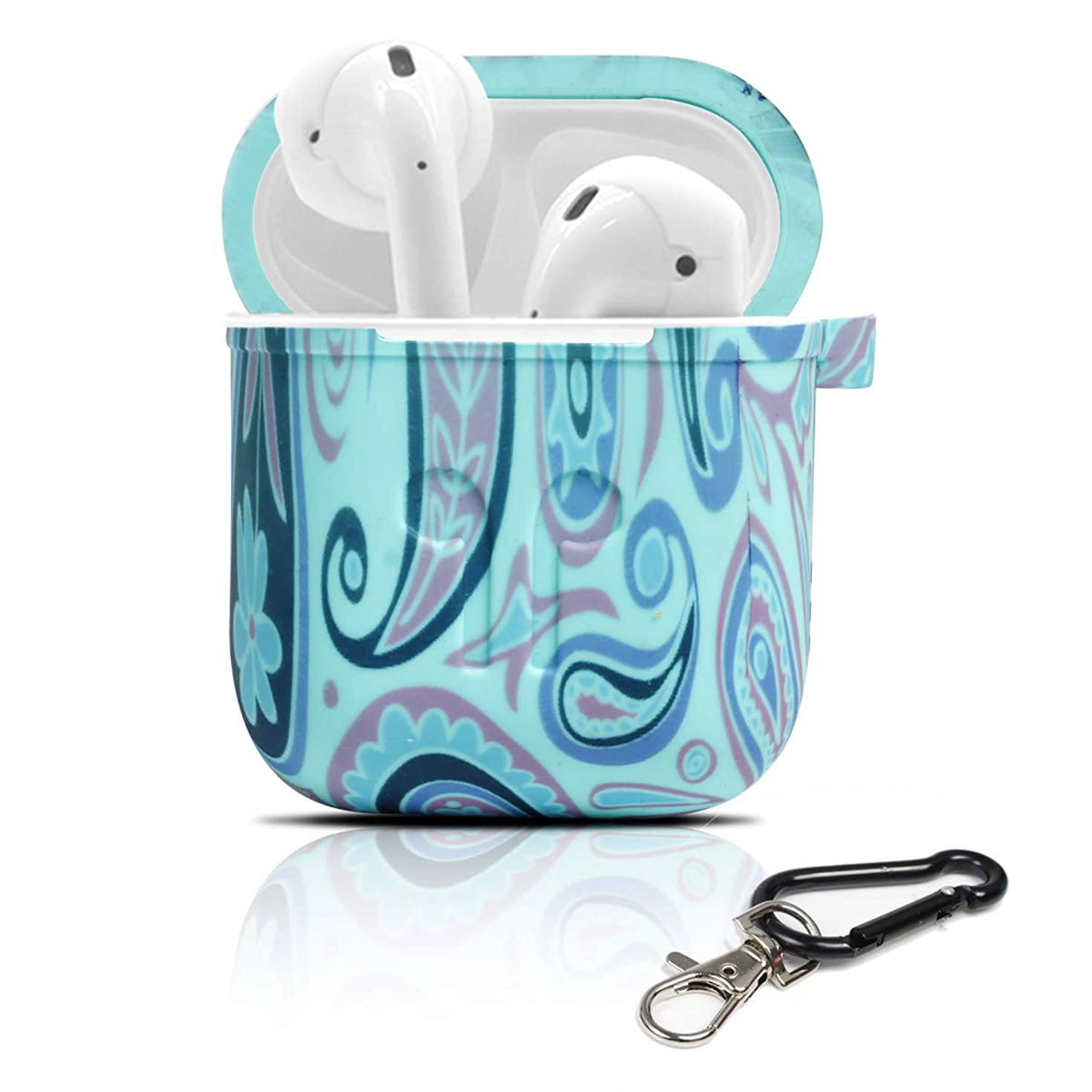 PAMISO Protective Cover Compatible for Airpods, Waterproof Colorful Silicone Skin and Cover with Keychain