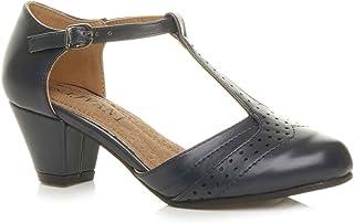 Ajvani Women's Mid Heel Cut Out T-Bar Court Shoes Pumps Size
