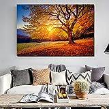 Puesta de Sol HD Impresa en Lienzo, Paisaje Grande, Pintura de paisajes Hermosos, Paisaje Natural en Lienzo,Pintura sin Marco,60x90cm