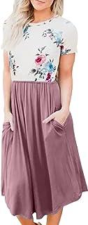 LAINAB Womens Short Sleeve Pocket Floral Print Patchwork Casual Swing Midi Dress