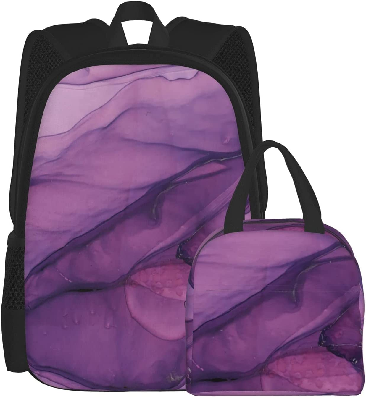 Backpack Lunch Outstanding Bag Sets Popular product for Boys Girls Purple Abstract Backpac
