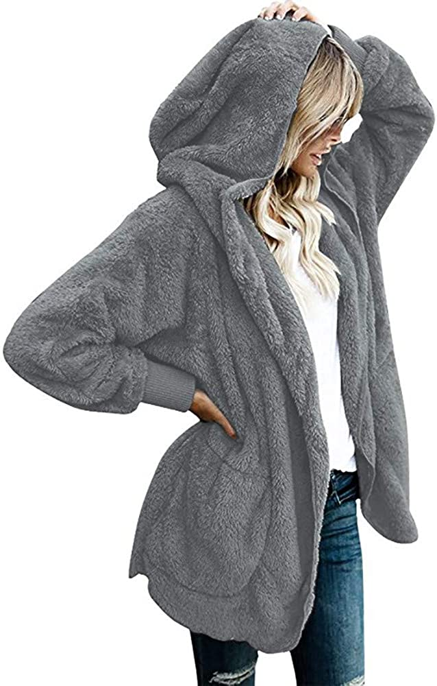 Hooded for Women Fuzzy Fleece Plus Size Sweaters Loose Plus Size Button Long Sleeve Stitching Pullover S-5XL