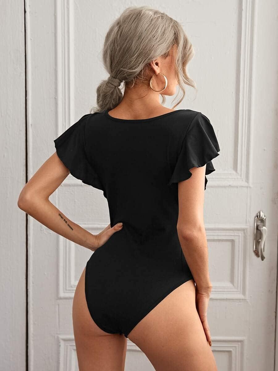 JYMBK Lace Jumpsuit Scoop Neck Butterfly Sleeve Bodysuit (Color : Black, Size : M)