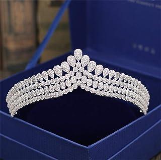 Crystal Crowns, Europe and America high Quality Alloy High End Diamond Zircon Baroque Bride Headwear - 14 * 4CM