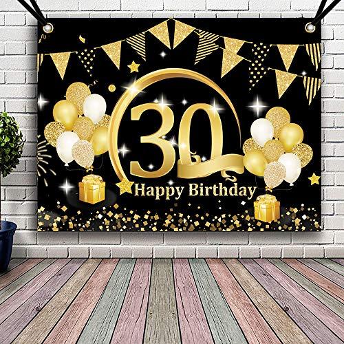 APERIL Decoración de Fiesta de Cumpleaños de Oro Negro, Póster de Tela Cartel Extra Grande para 30 Aniversario Feliz Cumpleaños Pancarta de Fondo Materiales de Fiesta de Cumpleaños (30 Cumpleaños)