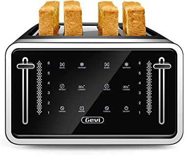 Gevi Toaster 4 Slice,Led Display Touchscreen Bagel Toaster with Dual Control Panels of Bagel/Reheat/Defrost/Cancel/Toasting O
