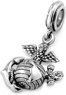 925 Sterling Silver 3D Eagle Globe & Anchor - USMC Marine Corps Bead Charm Fits Major Brand Bracelet