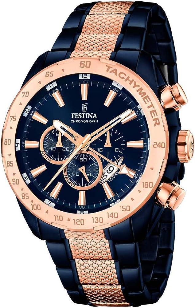 Festina orologio cronografo da uomo  in acciaio inossidabile placcato agli ioni blu notte F16886/1