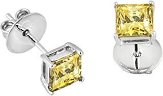 Princess Cut Cubic Zirconia Earrings Made with Swarovski Zirconia, Rhodium Plated .925 Sterling Silver