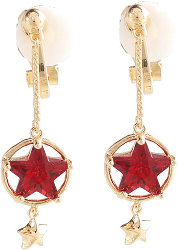 Cat New Inventory cleanup selling sale item Clip on Earring Dangle Red Star Double Clips Rhinestone for