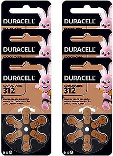 Kit com 6 Pilhas Duracell Auditiva 312 com 6 Unidades cada